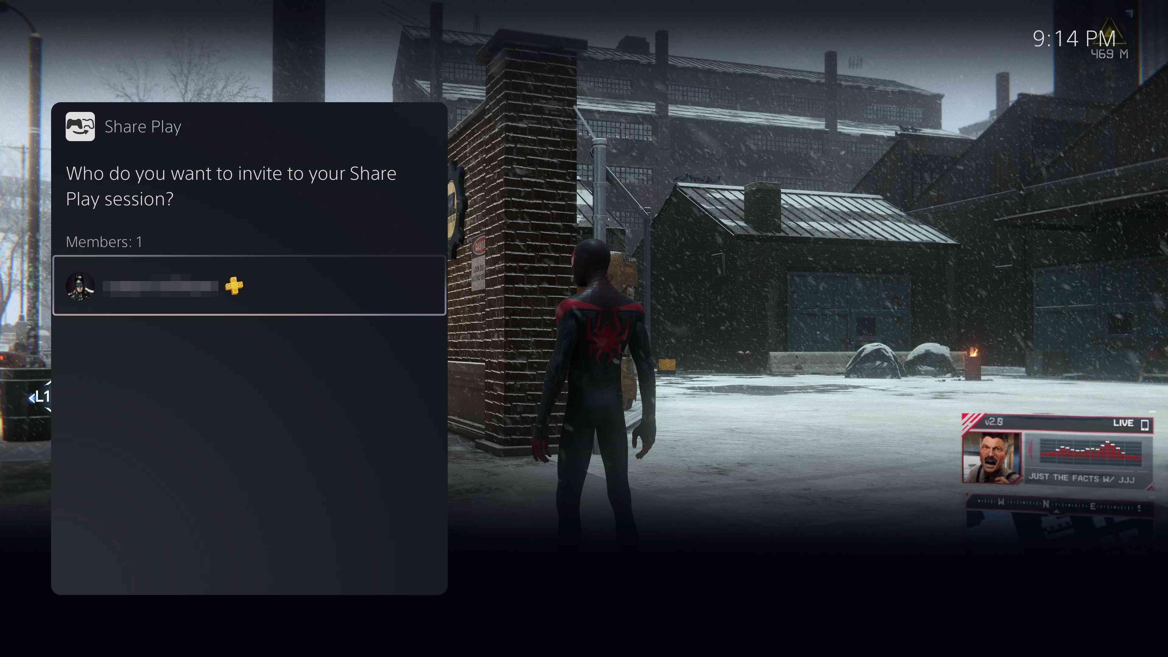 The Share Play invitation screen
