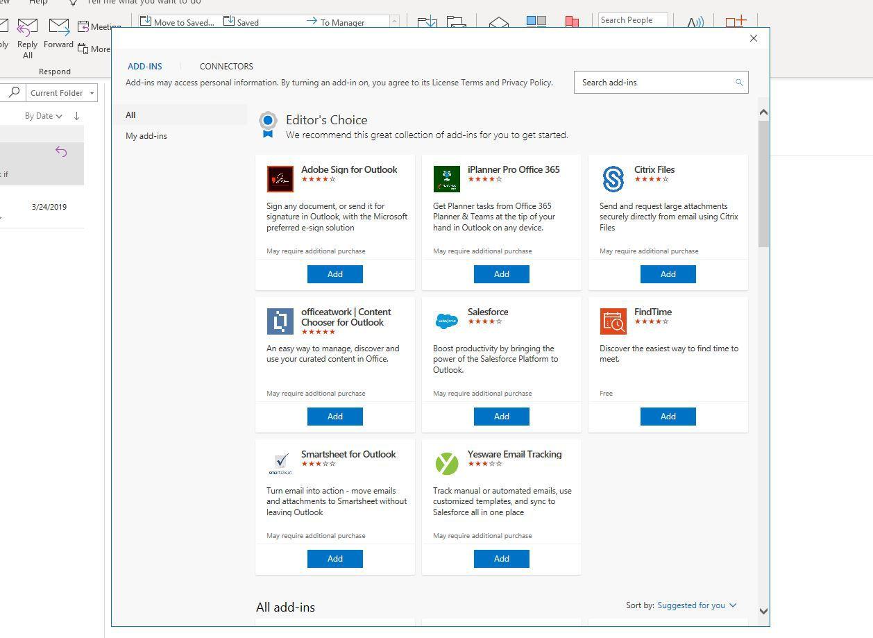 Screenshot of Outlook Add-ins