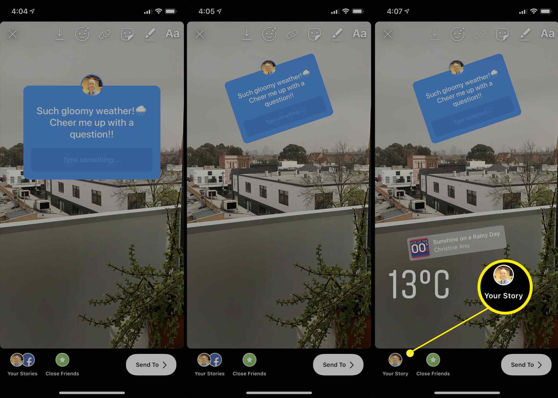 Using the Instagram Stories questions sticker in the iOS Instagram app on iPhone.