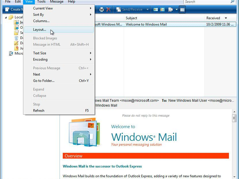 Disable Preview Pane in Windows Mail or Outlook Express