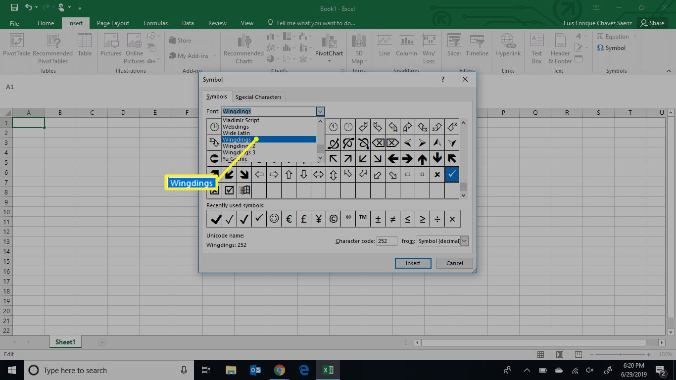 The Excel menu with Wingdings selected