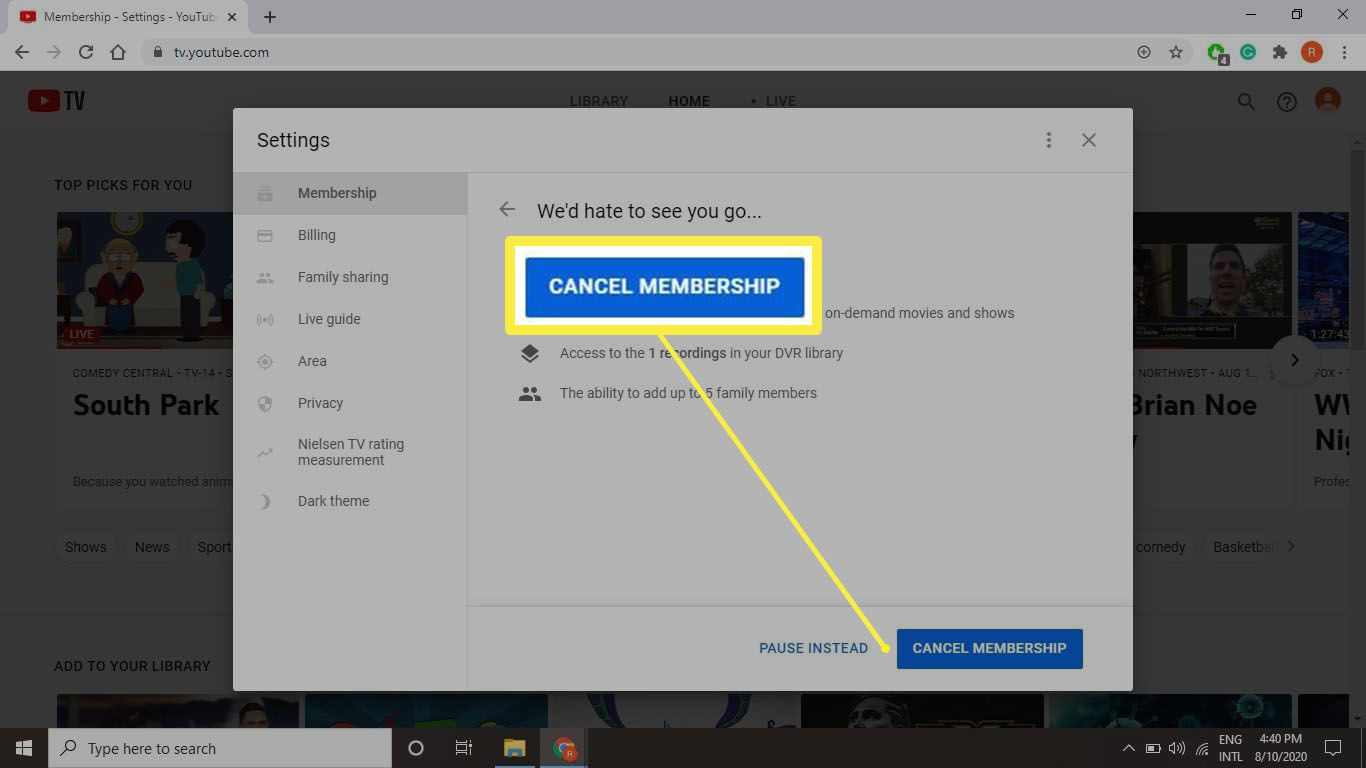 A screenshot of the final cancel button when cancelling tv.youtube.com.