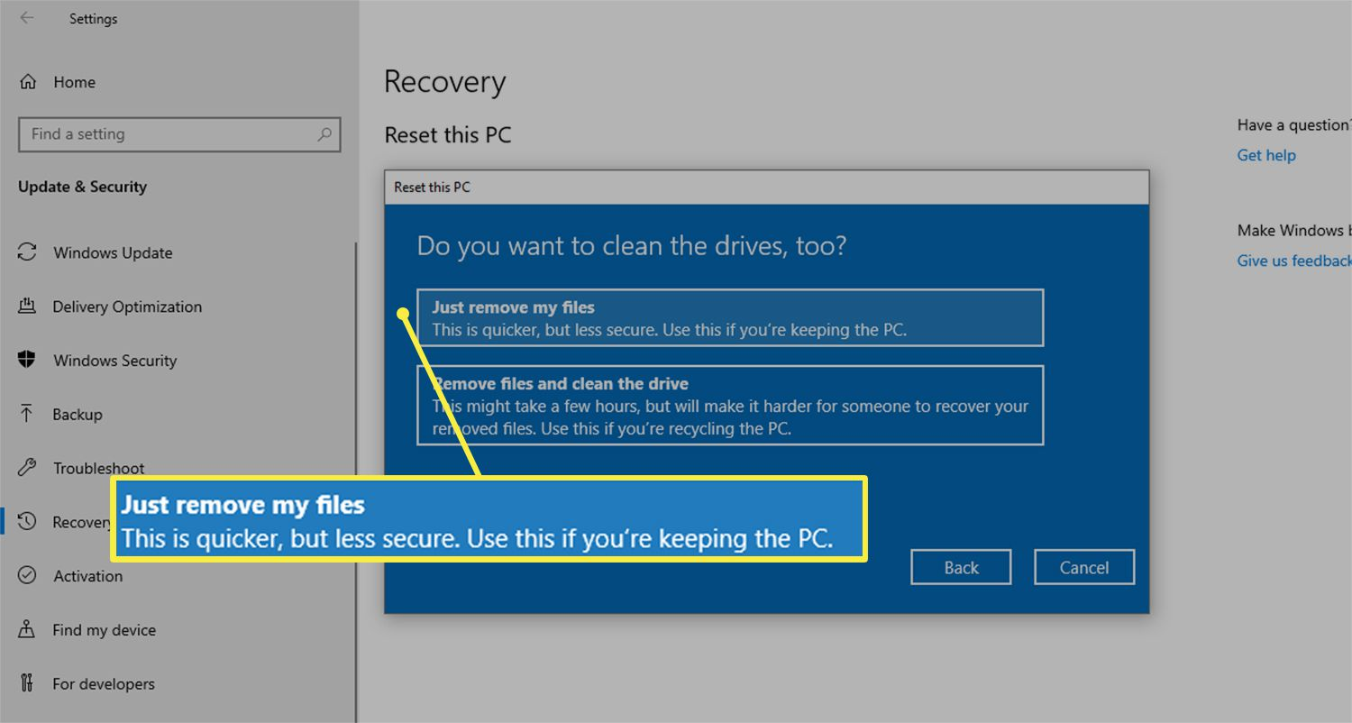 Just remove my files option from Reset this PC dialog box on Windows 10