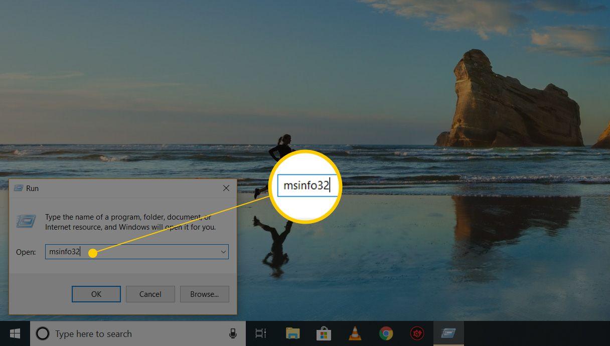 msinfo32 in Run menu on Windows 10
