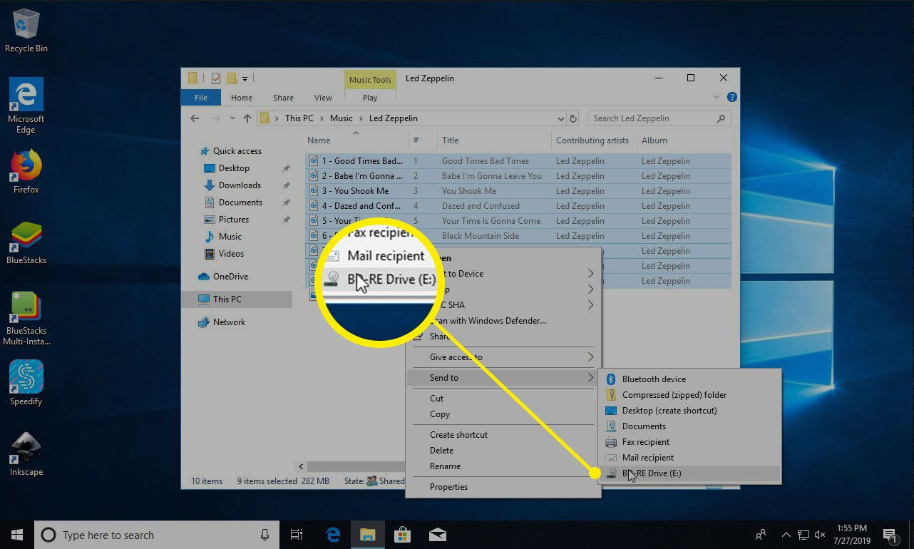 Windows 10 send music to drive