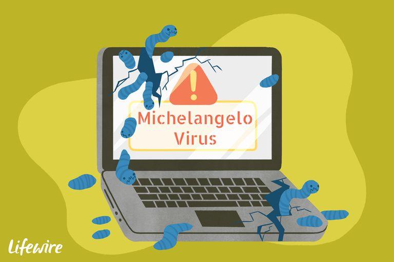 A conceptual illustration of the Michelangelo virus destroying a laptop computer.