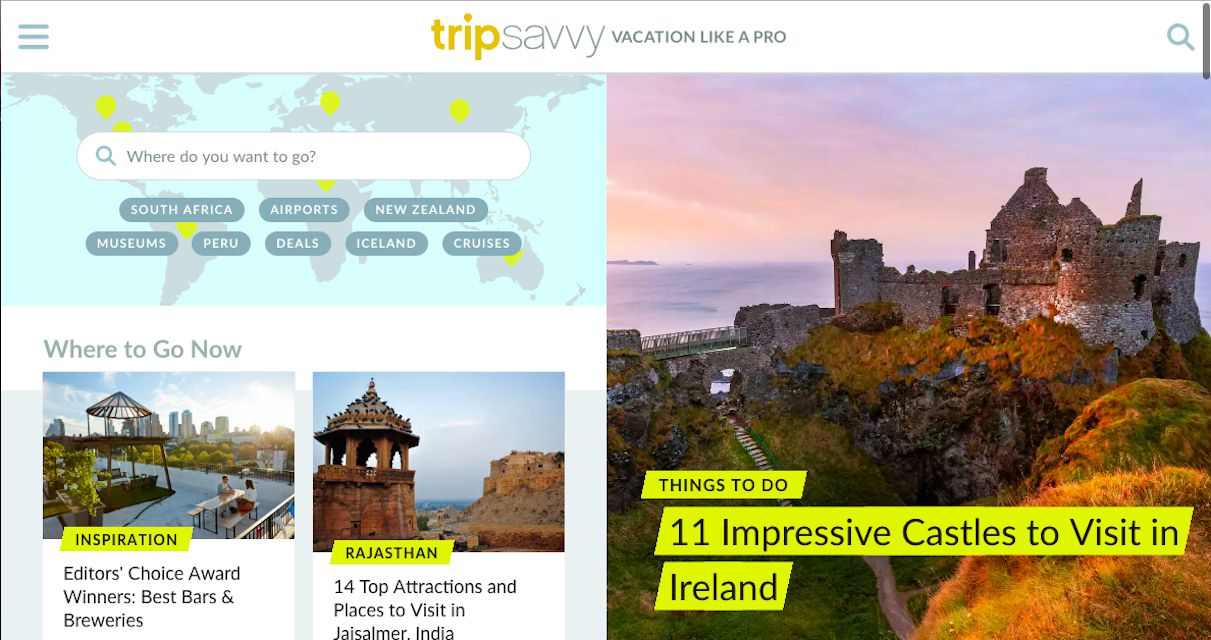 TripSavvy's home screen