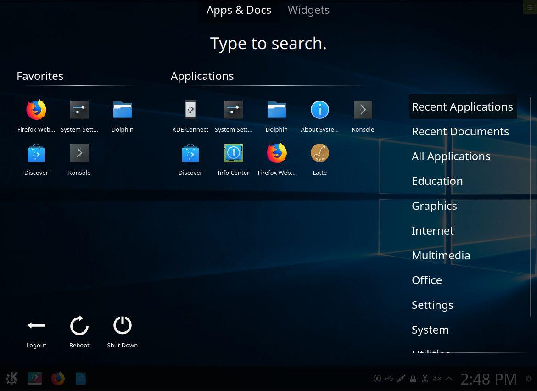 Screenshot of the new KDE menu.