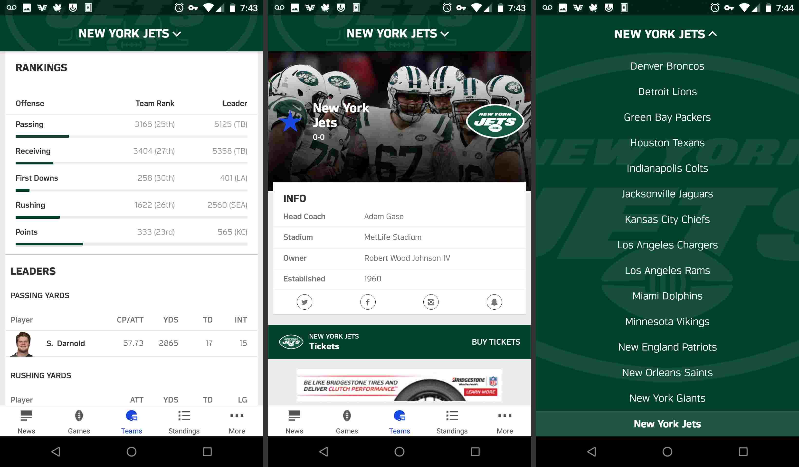 NFL mobile app teams pages