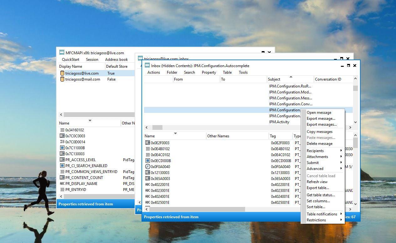 Screenshot of right-click menu
