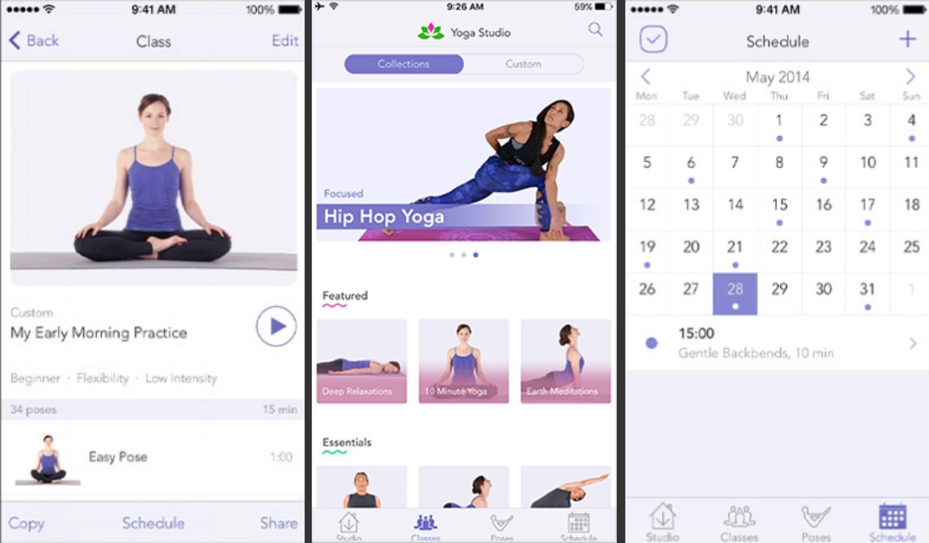Three screenshots of the Yoga Studio app for iOS.