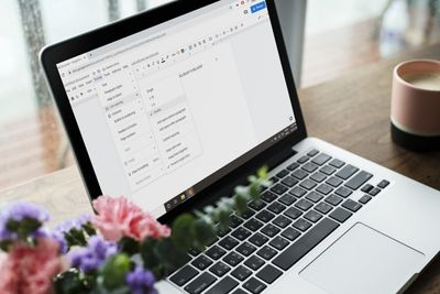 Line spacing options in Google Docs on a laptop