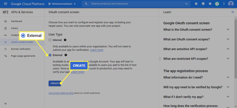 External and Create under User Type on Google Cloud Platform
