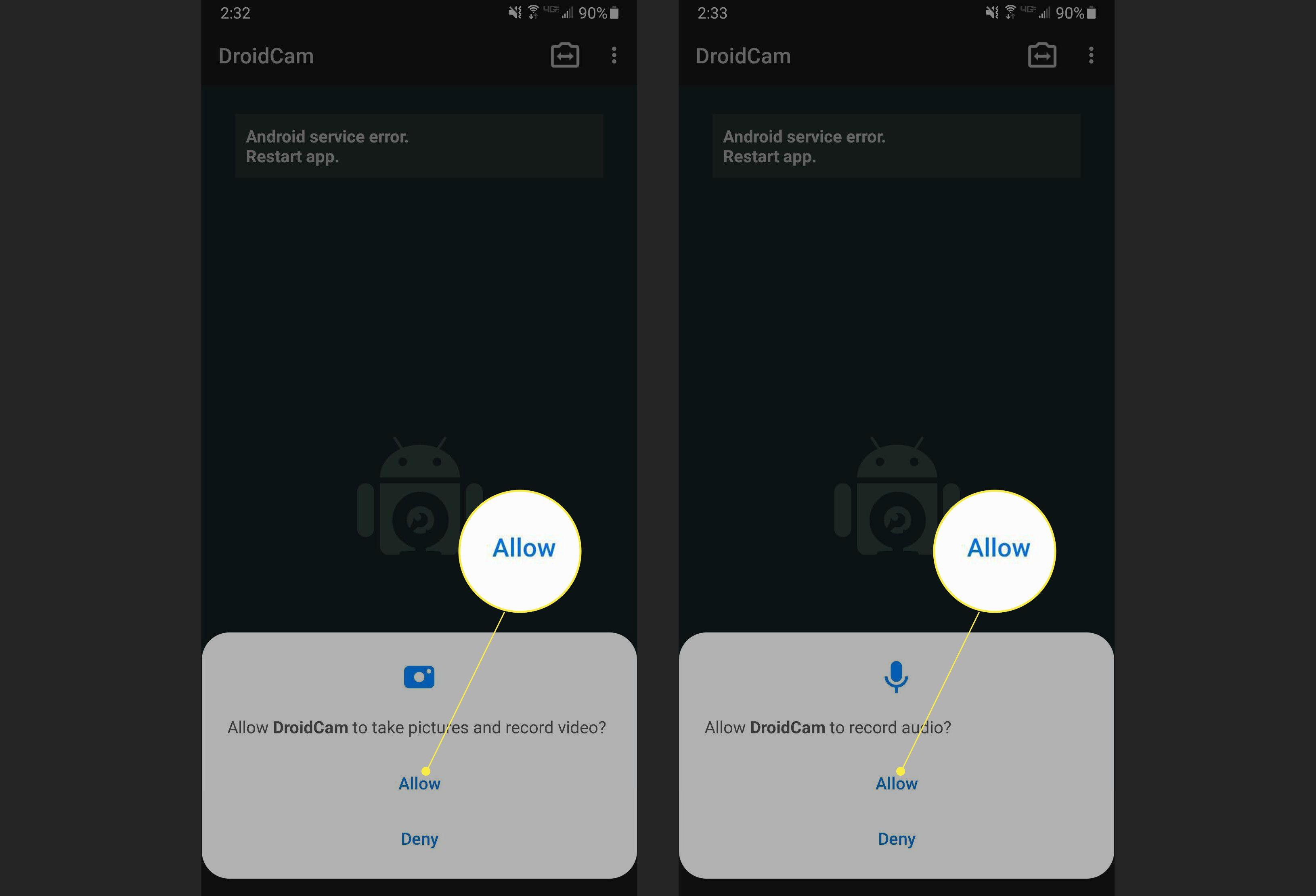 Steps to give DroidCam the correct permissions to access your camera with Allow highlighted