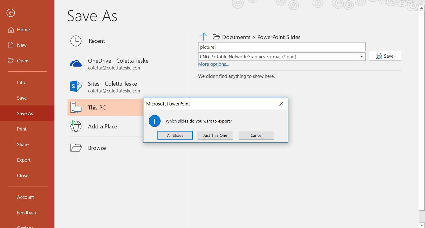 A screenshot showing how to save a singe slide or all slides as images in a PowerPoint presentation