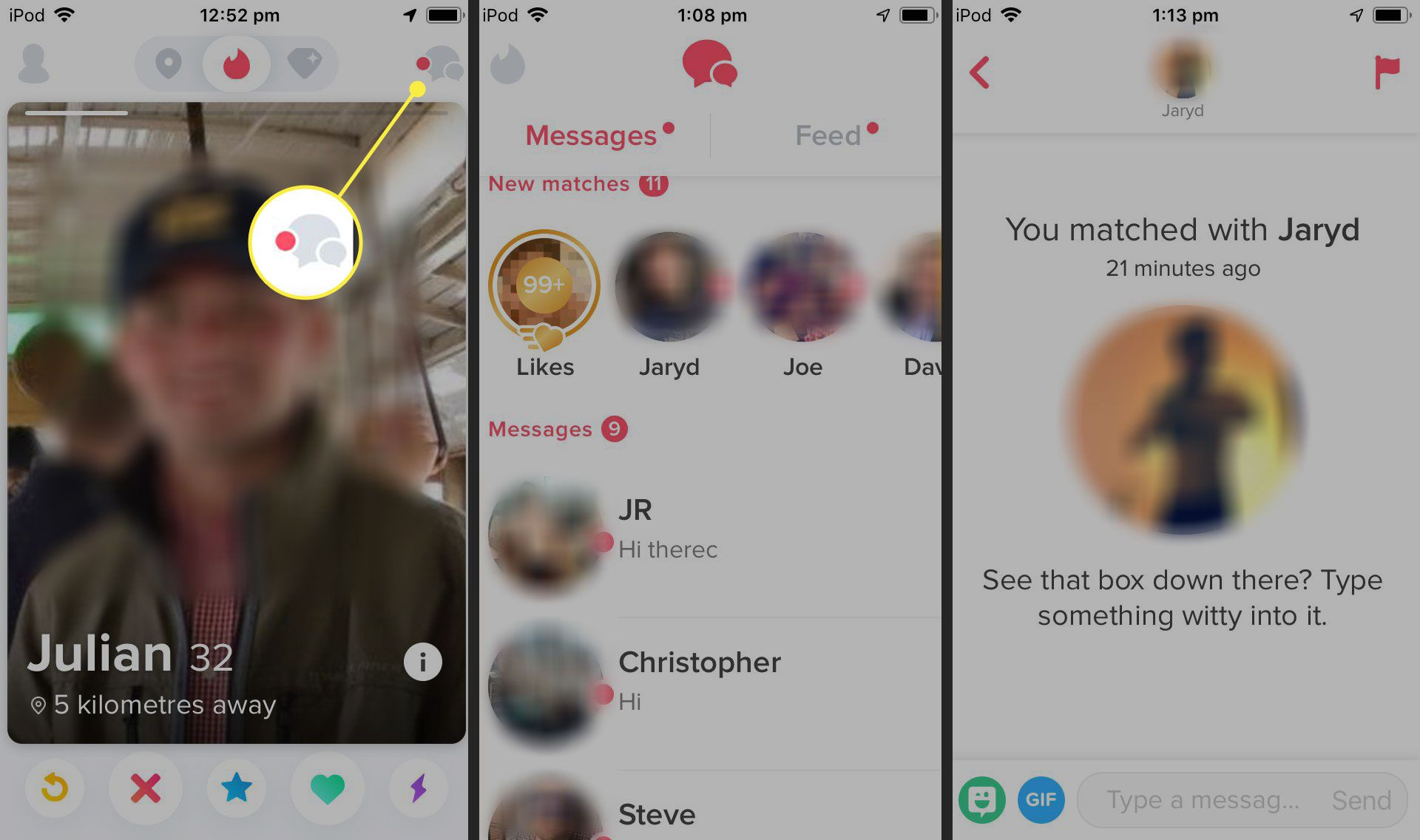 What do the buttons on tinder mean