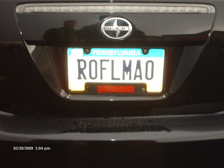 "License plate reads ""ROFLMAO"""