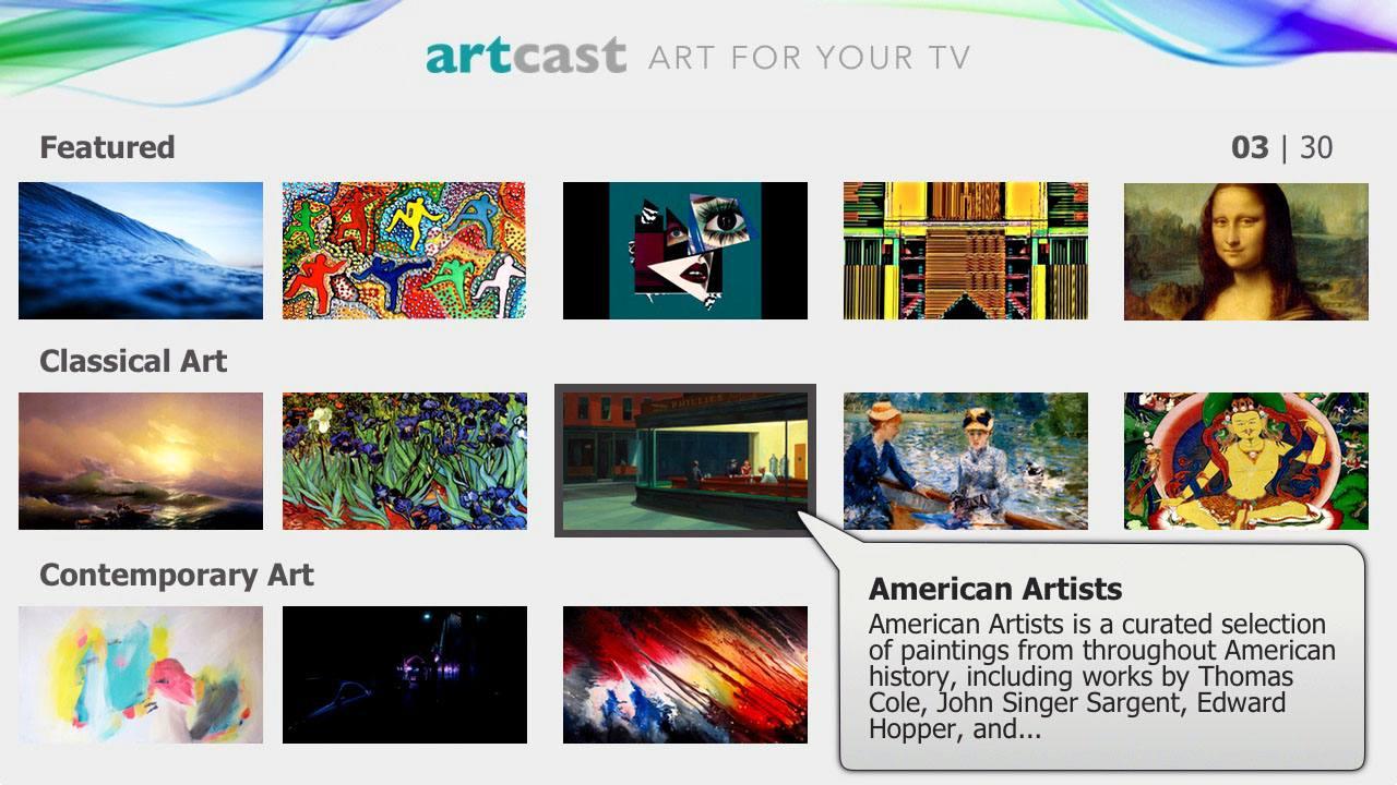 Artcast–Roku Channel Menu Example