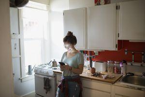 food blogger in kitchen