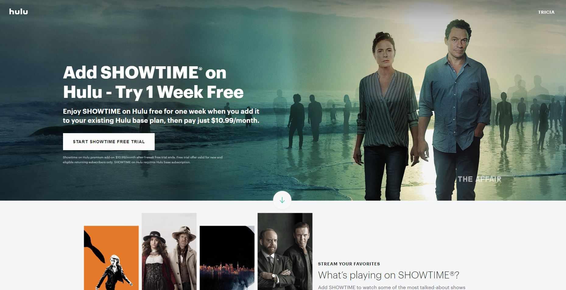 Screenshot showing Showtime add-on for Hulu
