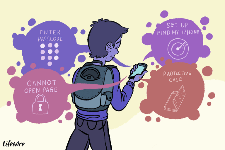 Illustration of a child holding an iPhone with thought-bubbles saying Enter Passcode, Cannot Open Page, Set Up Find My iPhone, and Protective Case