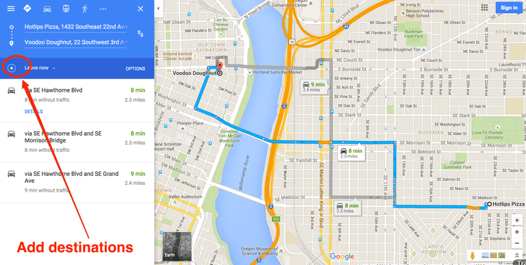 hotlips to voodoo doughnuts on google maps