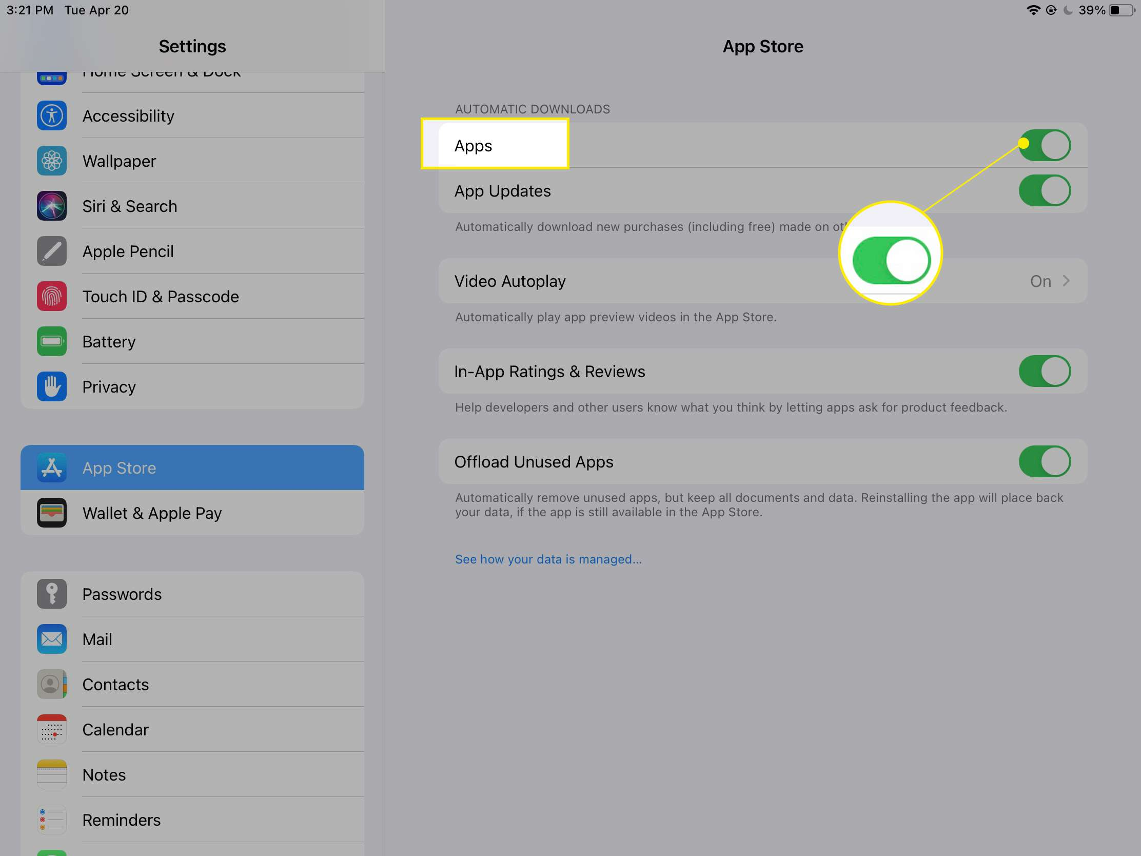 iPad App Store settings with Apps toggle highlighted