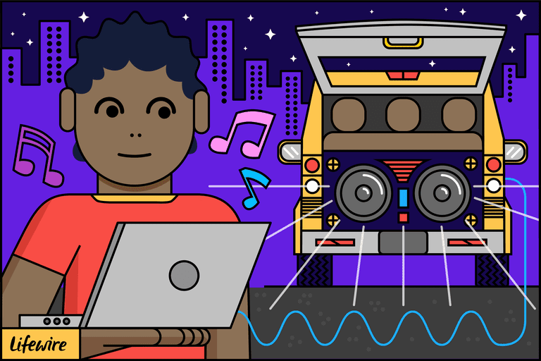 Illustration of a woman connecting a laptop to a car with a subwoofer in the back