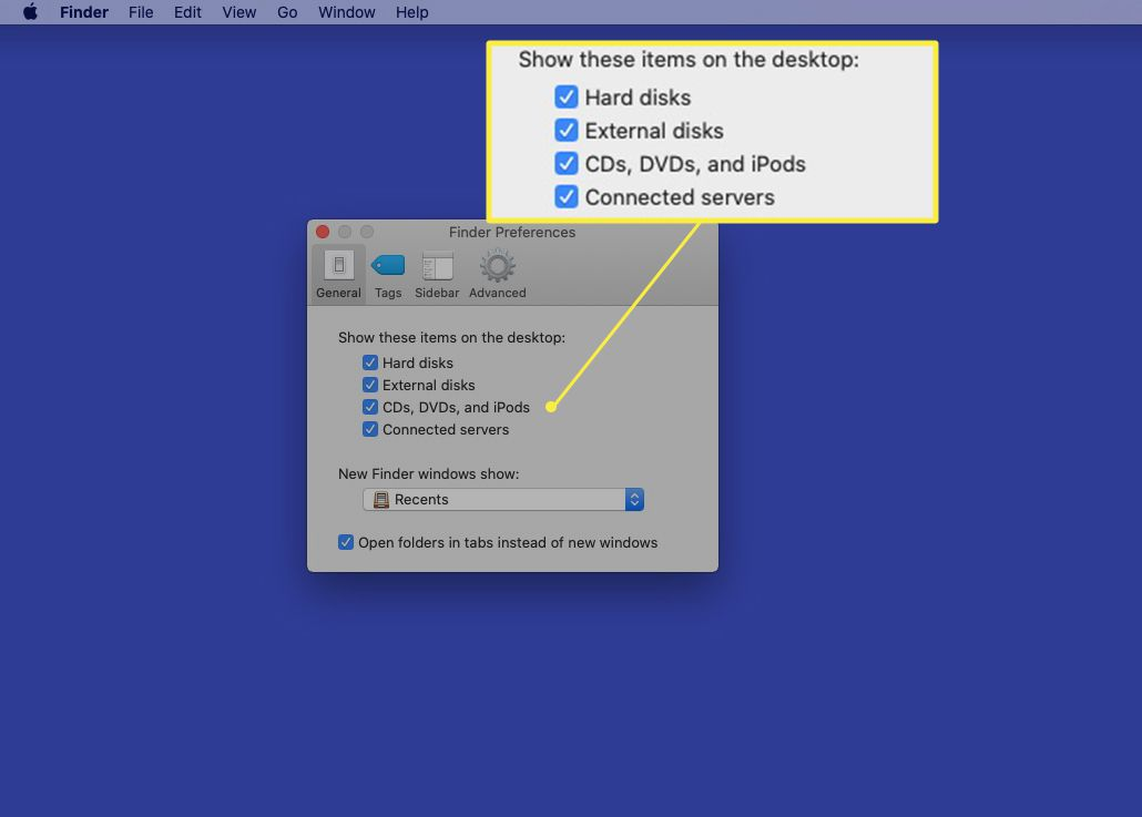 Finder preferences with desktop icon items highlighted