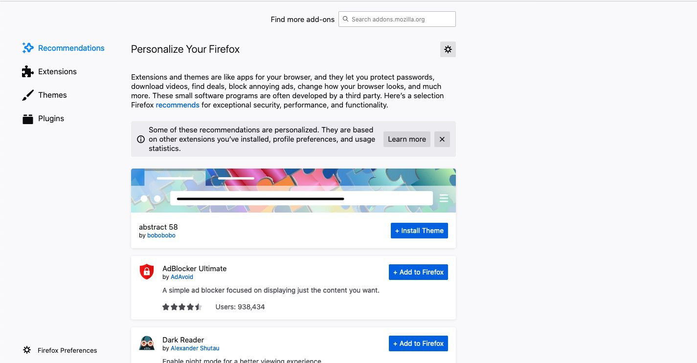 The Personalize Your Firefox page will display.