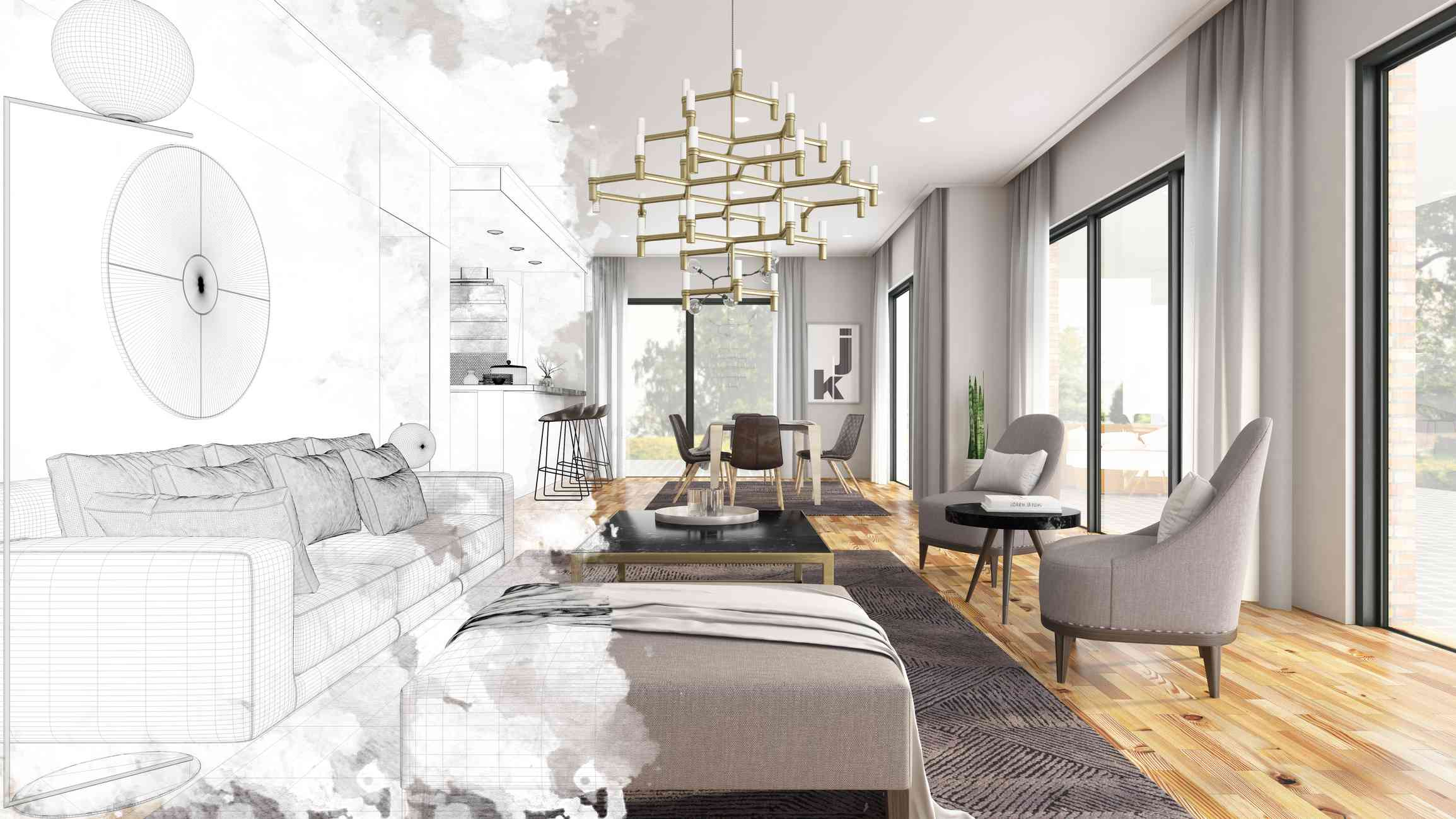 Half draw sketch of a modern living room interior overlayed by a matching photograph.