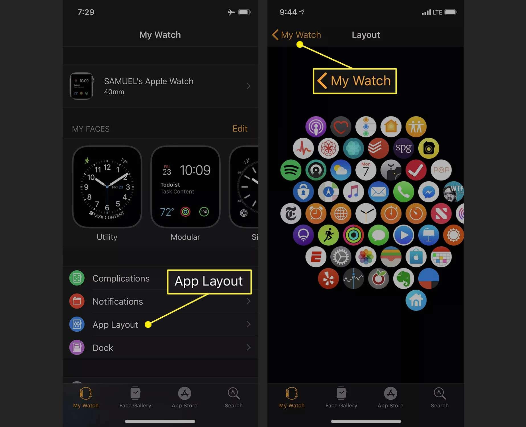 Watch app on iPhone showing watch app grid