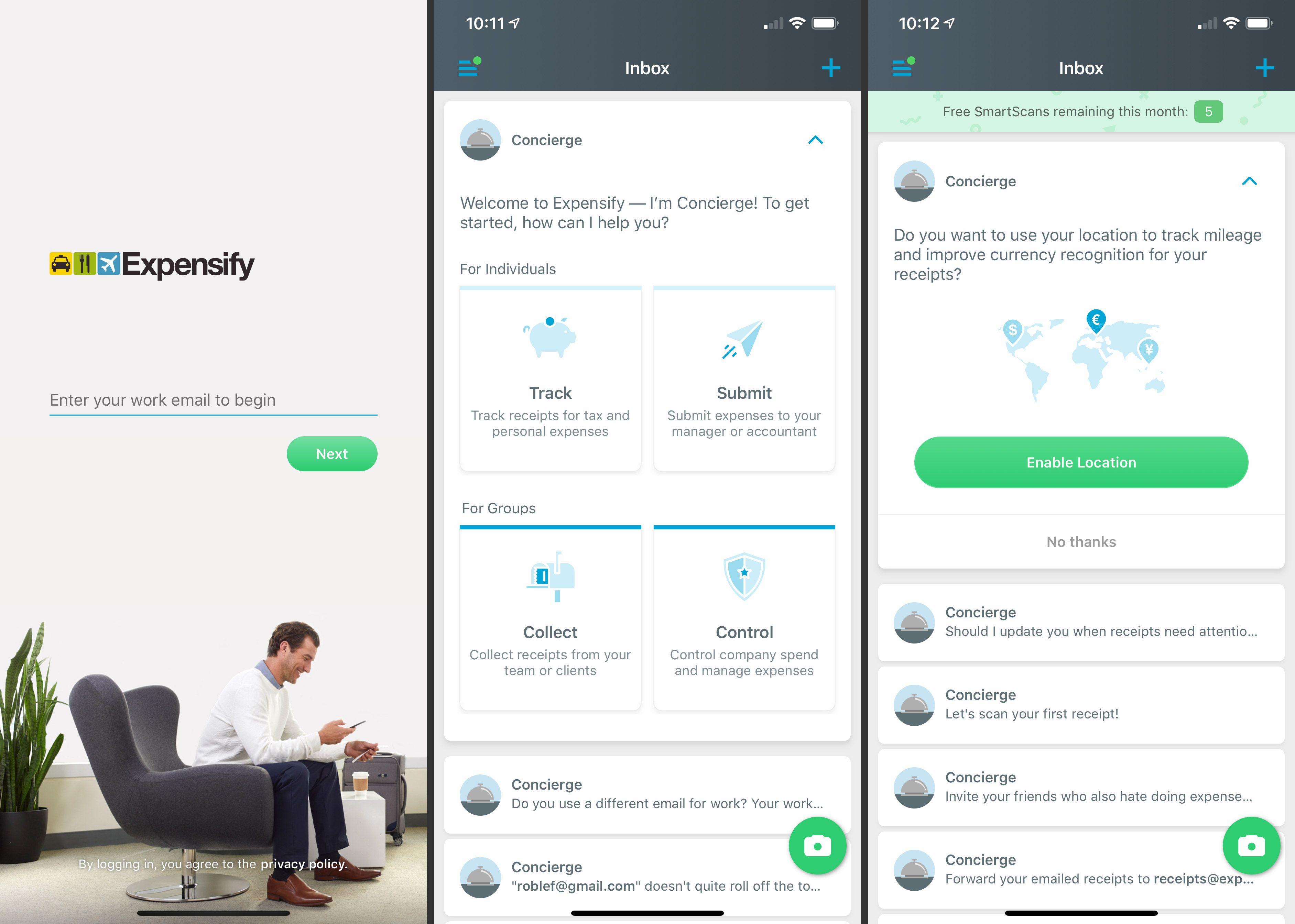 Three iOS Expensify app screens