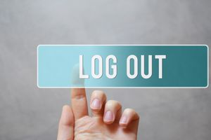 Finger pressing log out button