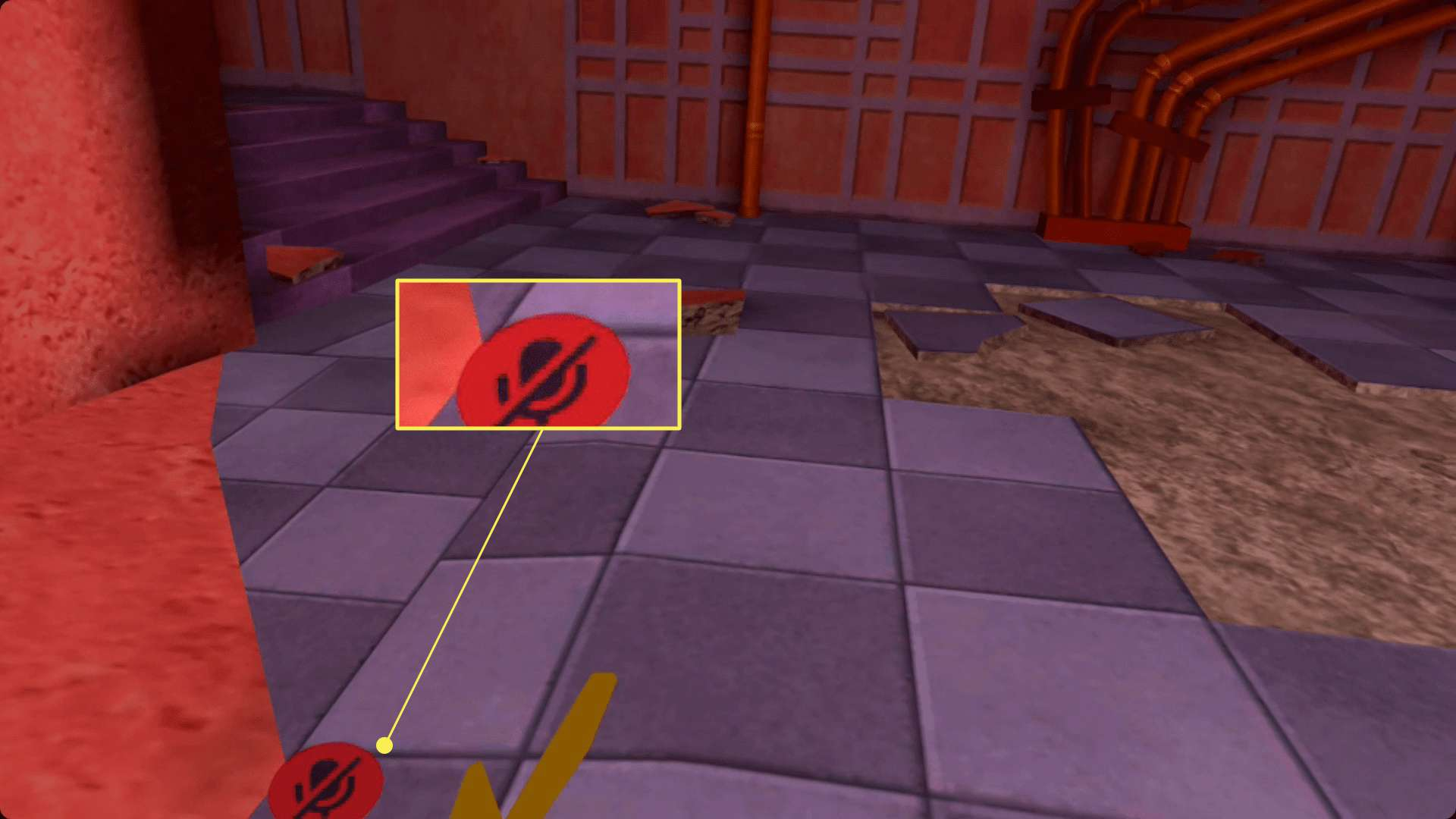 VRChat on Quest with the mute icon showing.