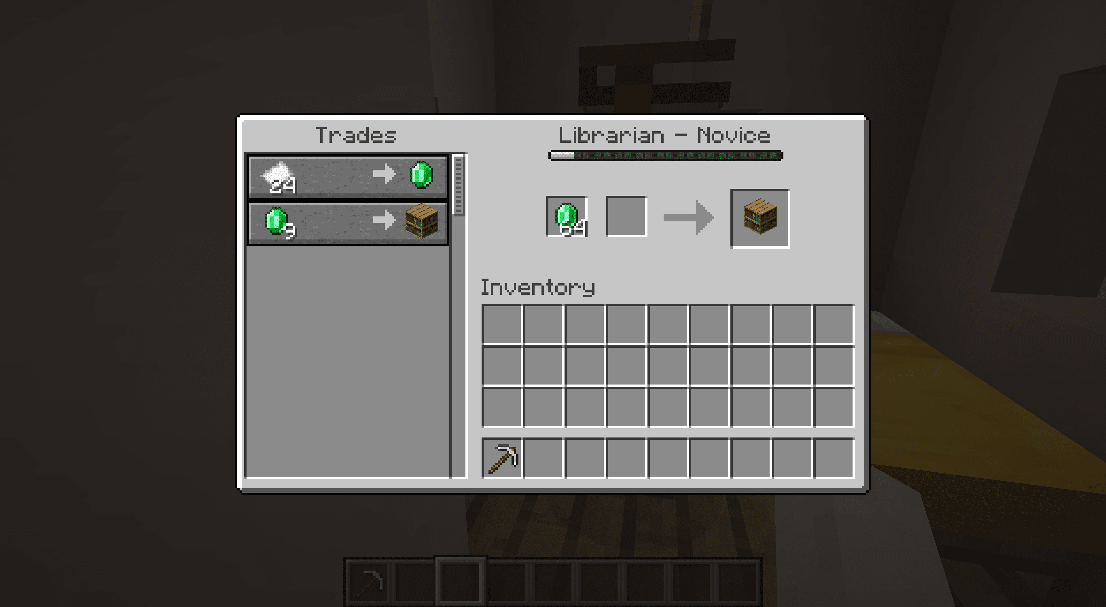 Trading with a librarian villager in Minecraft.
