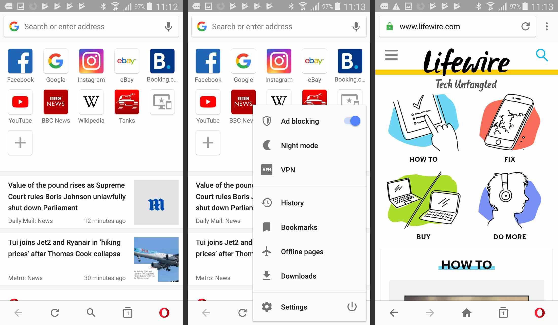 Opera app screenshots