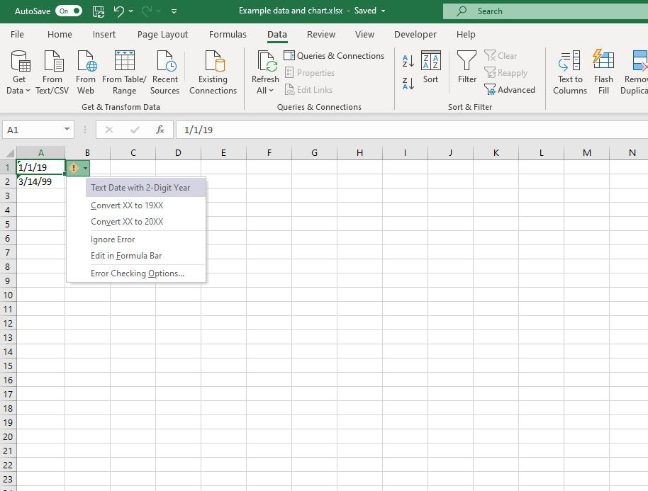 Convert the 2 digit year to 4 digits in Excel.