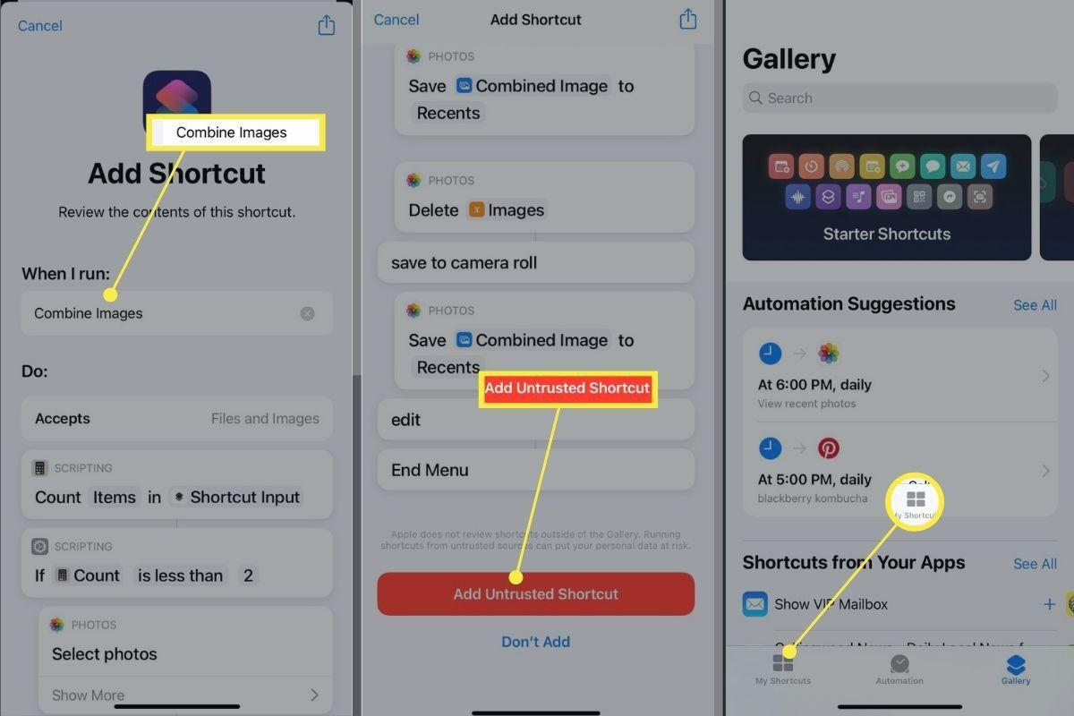 Combine Images > Add Untrusted Shortcut > My Shortcuts