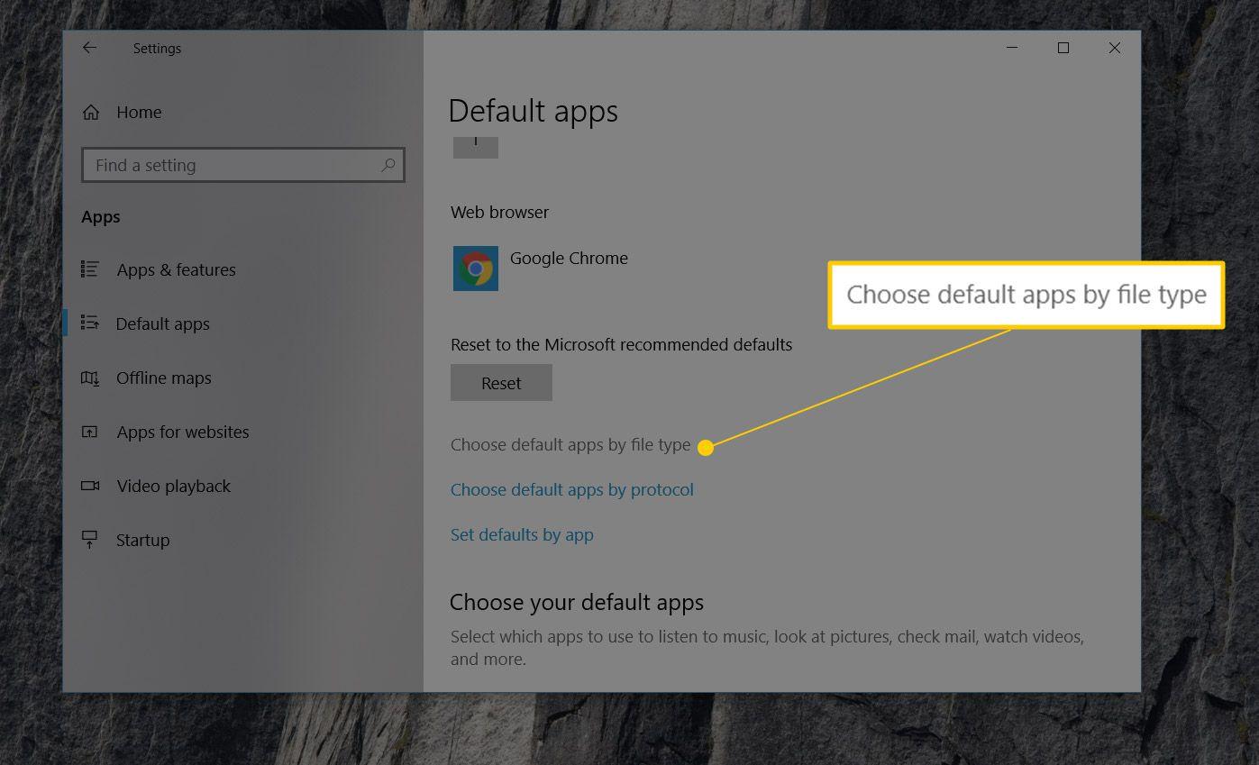 Choose default apps by file type link in Windows 10 Settings