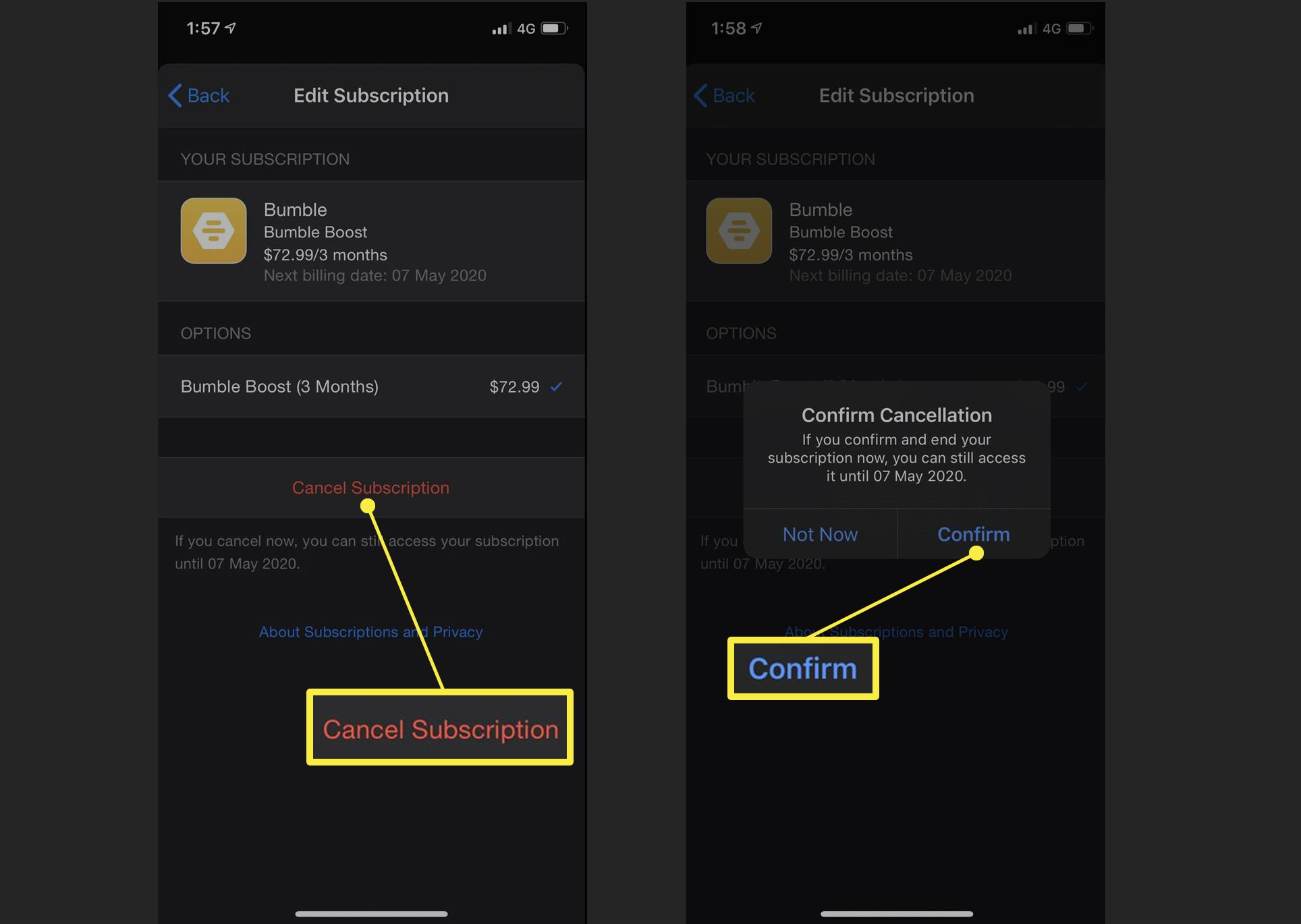 Cancel subscription screens on iPhone