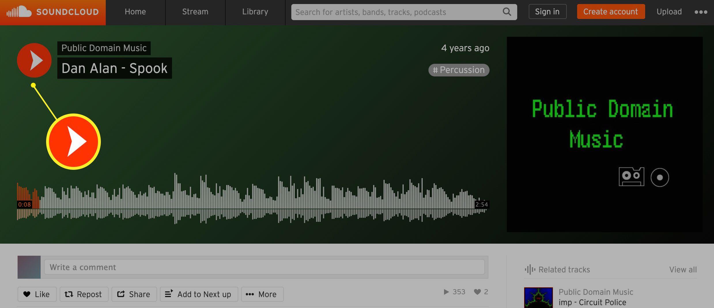Soundcloud play button