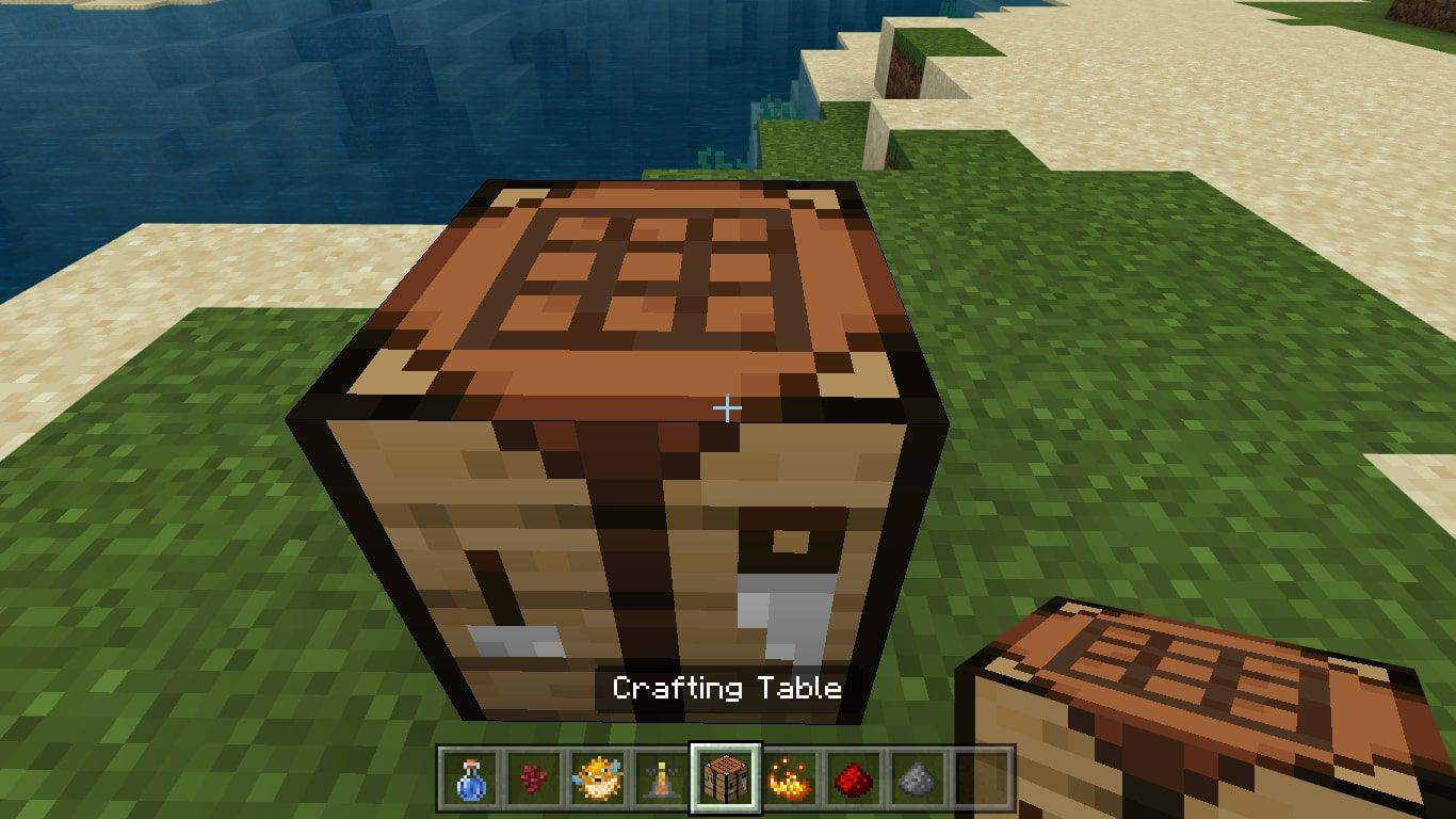 Place the Crafting Table on the ground and use it to open the 3X3 crafting grid.