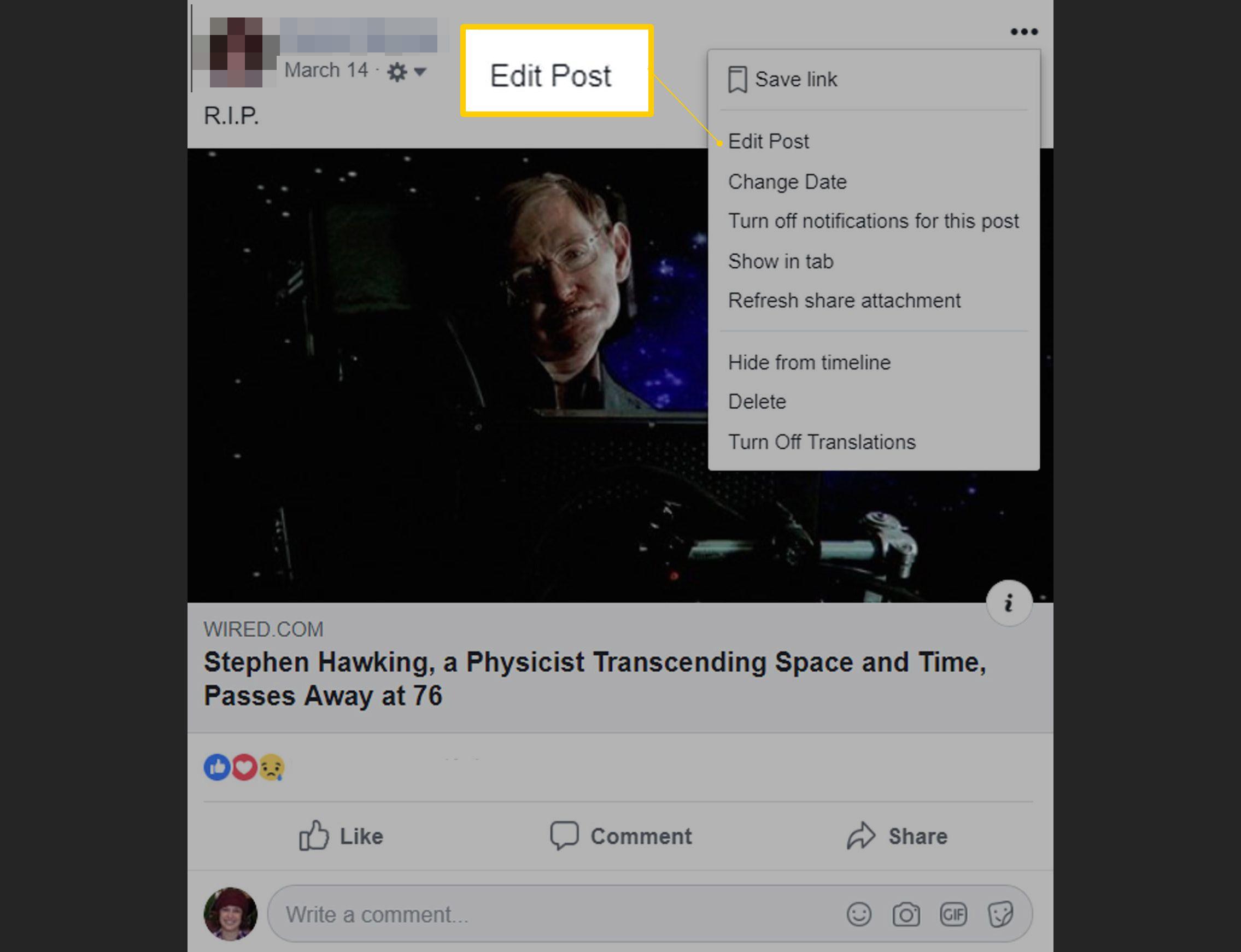 Edit Post menu item on Facebook post for the web