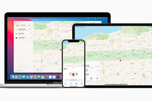 Apple Find My displayed on a MacBook, iPad, and iPhone.