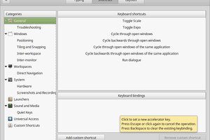 Linux Mint window to customise keyboard shortcuts.