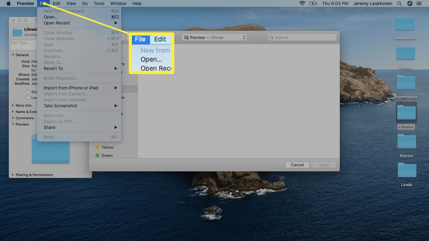 The File menu in the Preview app on macOS.
