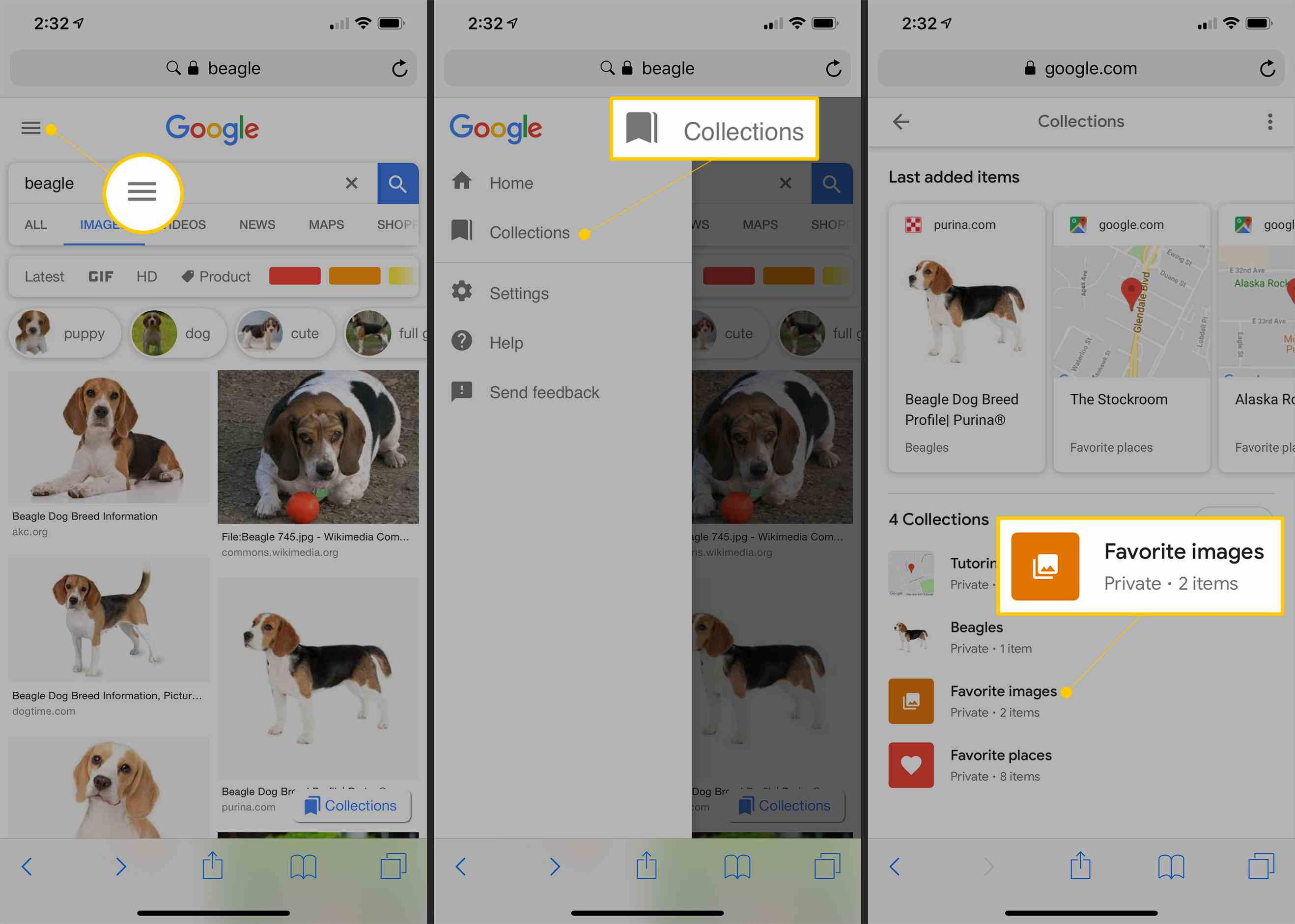 Menu button, Collections, and Favorite Images collection in Google Images on iOS