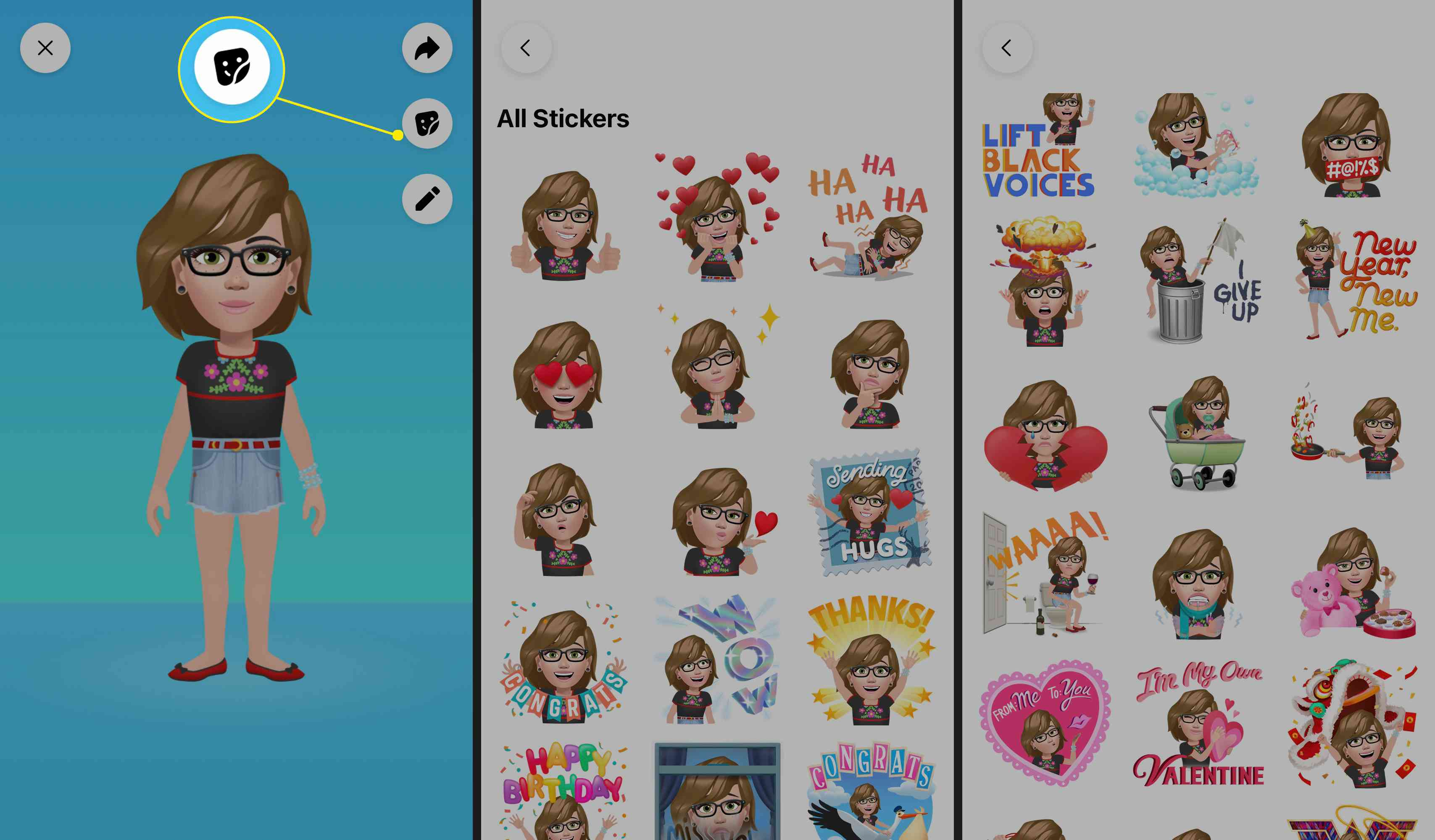 Go to your Avatar page and tap the Stickers icon. Scroll through to view all your available stickers.