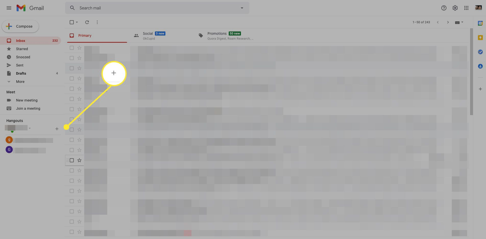 Gmail Hangouts with plus sign highlighted